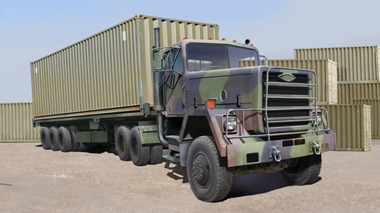 M915 Tractor with M872 Flatbed trailer & 40FT Container 01015